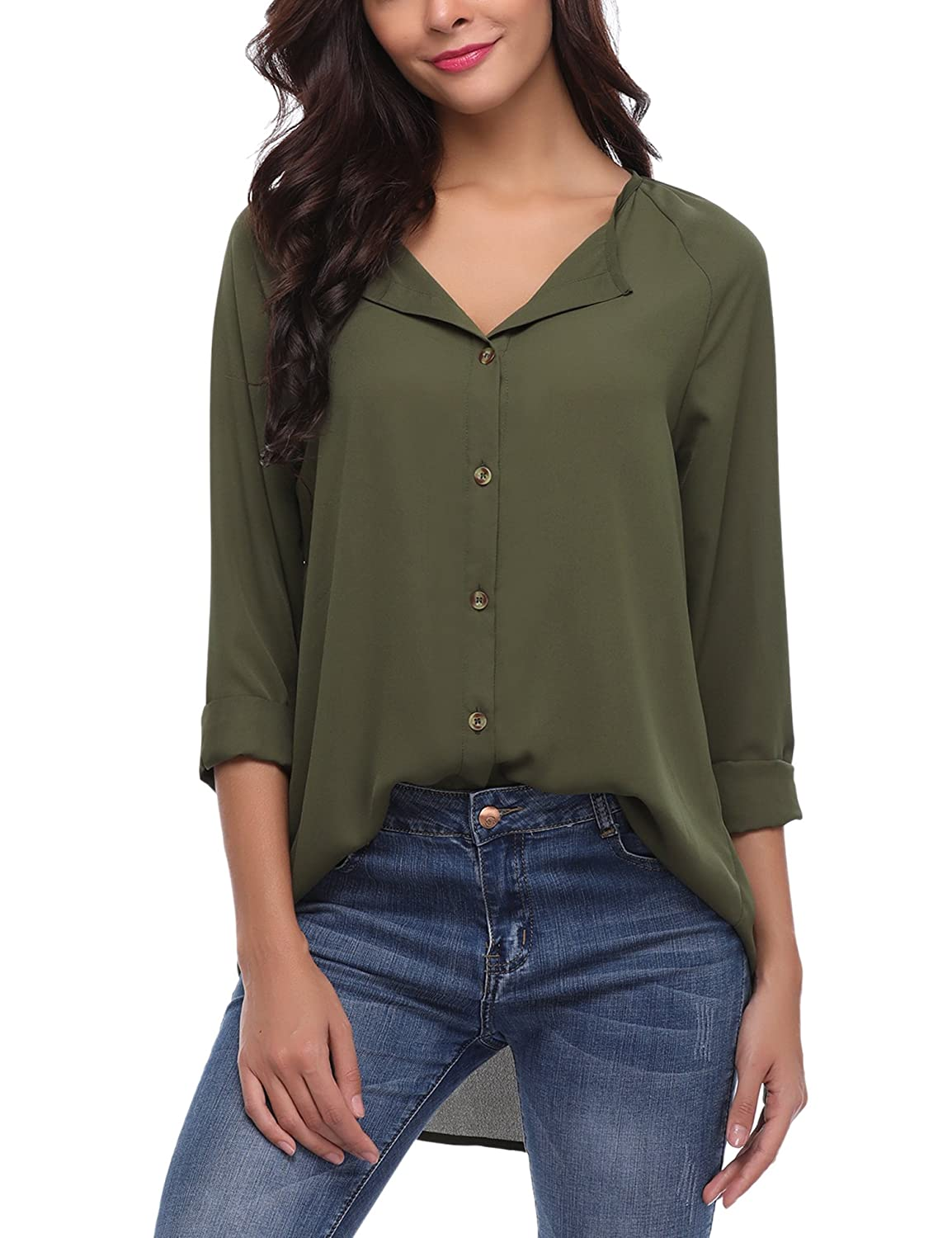 I Closam Women Chiffon Casual Loose V Neck Long Sleeve Button Down Shirt Blouse Tops by I Closam