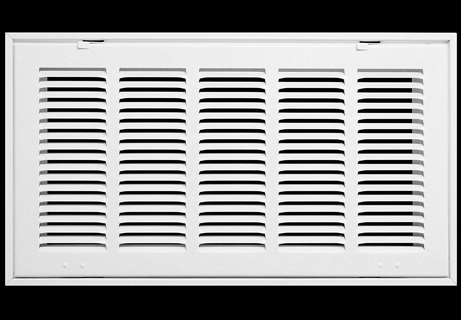 "20"" X 10 Steel Return Air Filter Grille for 1"" Filter - Fixed Hinged - Ceiling Recommended - HVAC Duct Cover - Flat Stamped Face - White [Outer Dimensions: 22.5 X 12.5]"