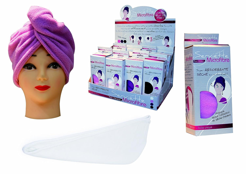 Paris Prix - Asciugamano per capelli, in microfibra rosa