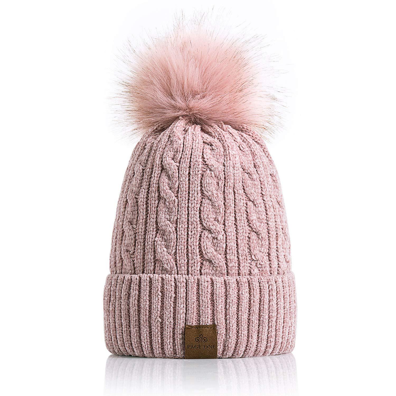 7ce6cb333b8 PAGE ONE Women Winter Pom Pom Beanie Hats Warm Fleece Lined