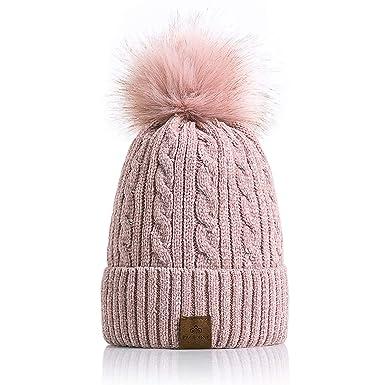 PAGE ONE Women Winter Pom Pom Beanie Hats Warm Fleece Lined 82e3972fd178