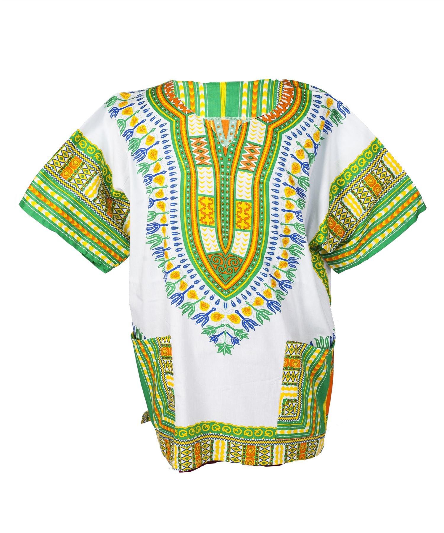 Lofbaz Traditional African Print Unisex Dashiki Size XXXL White and Grass Green