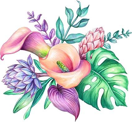 Amazon.com Pretty Pastel Pencil Sketch Tropical Floral