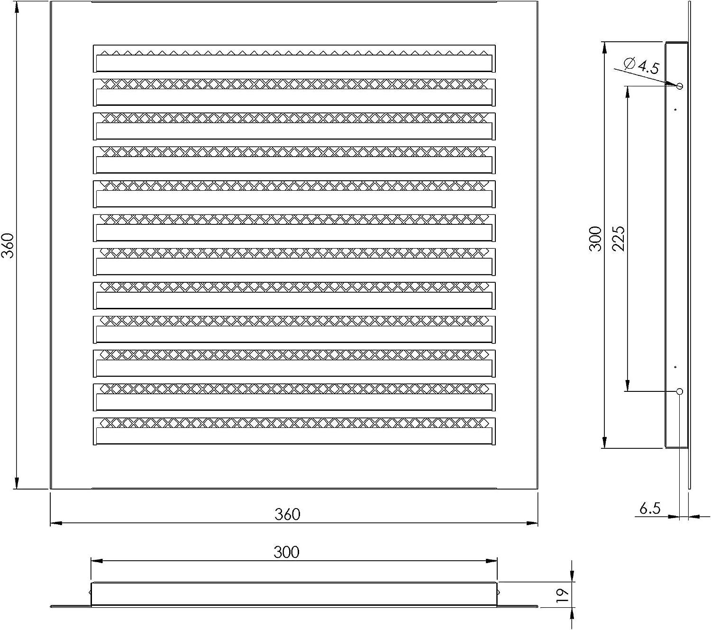 300 x 300 mm, acero inoxidable, protecci/ón contra la intemperie, para garaje, cocina, ba/ño, pared color blanco Rejilla de ventilaci/ón