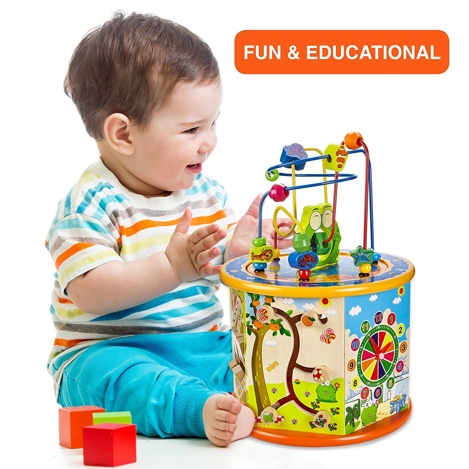 Gleeporte 8-in-1 - Wooden Activity Play Cube | Includes Tic Tac Toe Game | Multi-Function, Deluxe, Learning Multi Sensory Educational Toy for Toddler & Kids with Turning Base | Ideal Gift