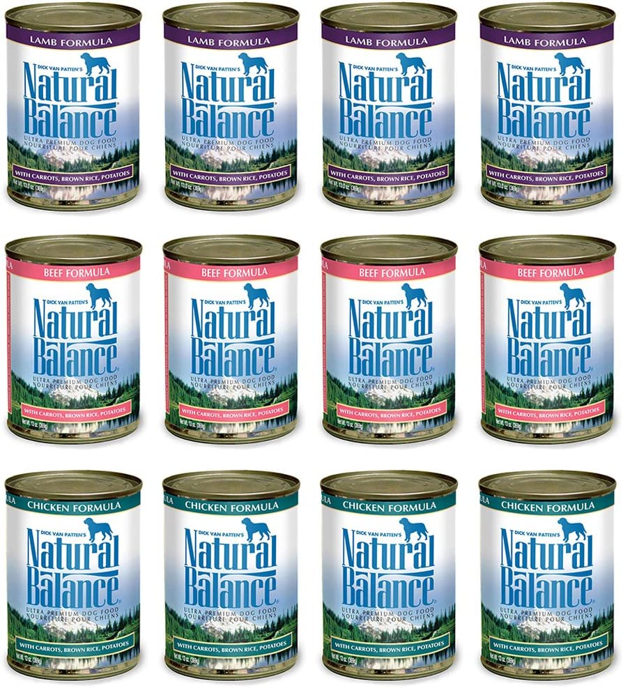 Natural Balance Dog Food Variety Pack 13 oz Cans: (4) Lamb Formula, (4) Beef Formula, (4) Chicken Formula (4 (12 Pack Bundle)