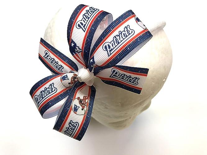 9f4709052fda2 Amazon.com  Girls New England Patriots Headband NFL New England Patriots  Football Hair Bow  Handmade