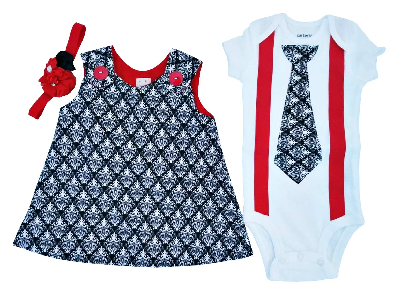 Perfect Pairz Matching Brother Sister Boy Girl Twin Rose & Ross USA Made(6M Short Sleeve) by Perfect Pairz