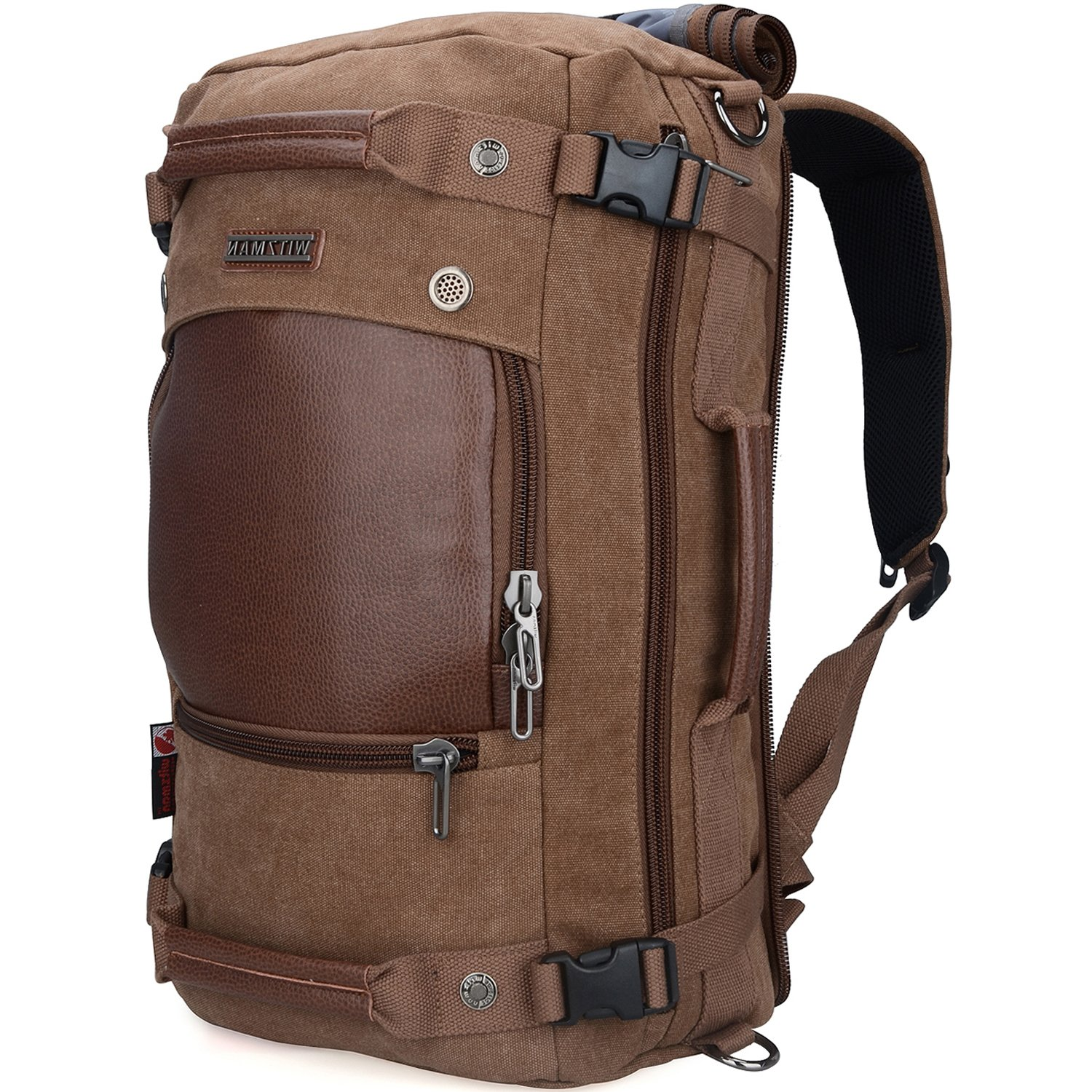 WITZMAN Men Travel Backpack Canvas Rucksack Vintage Duffel Bag A2021 (21 inch Brown)