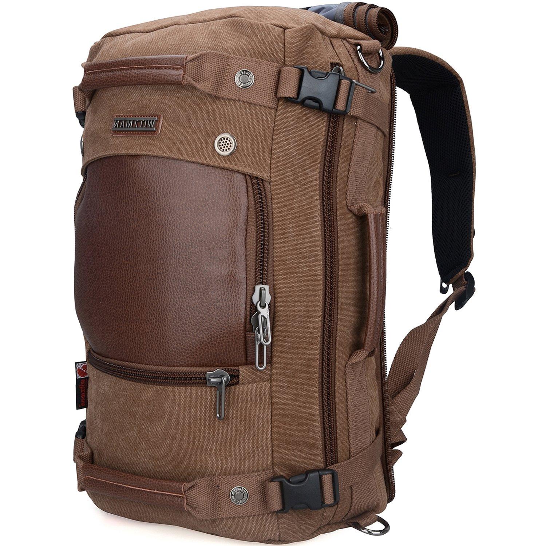 WITZMAN Men Travel Backpack Canvas Rucksack Vintage Duffel Bag A2021 (21 inch Brown) by WITZMAN