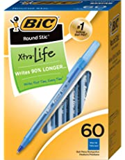 BIC Round Stic Ball Pens Stick, Blue, Medium Point, Box of 60