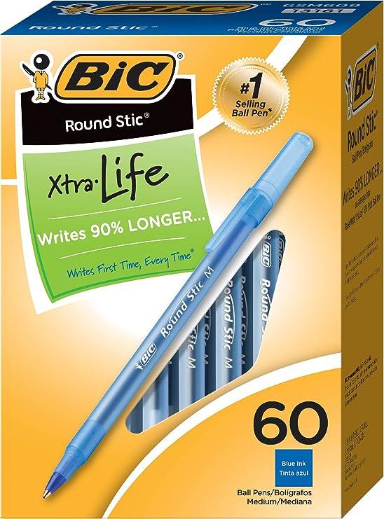 BIC Round Stic Xtra Life Ballpoint Pen, Medium Point (1.0mm), Blue, 60-Count