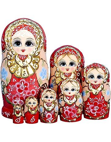 YAKELUS marca profesional de Matrioska, Muñecas Rusas Matrioska 7 piece Madera Matrioska de Rusia de