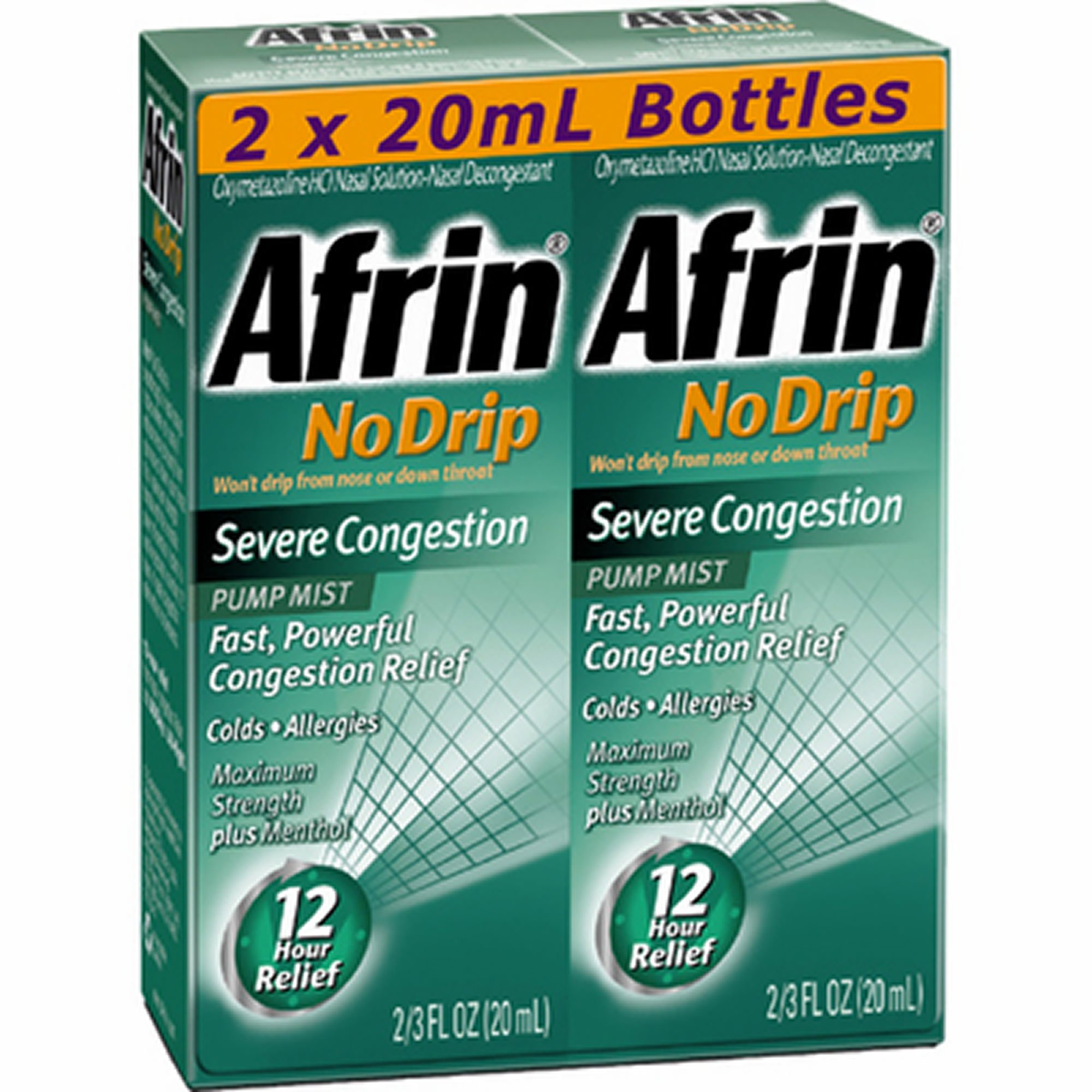 Afrin No Drip Severe Congestion Pump Mist, 2pk./3 fl. oz. (pack of 6) by Afrin