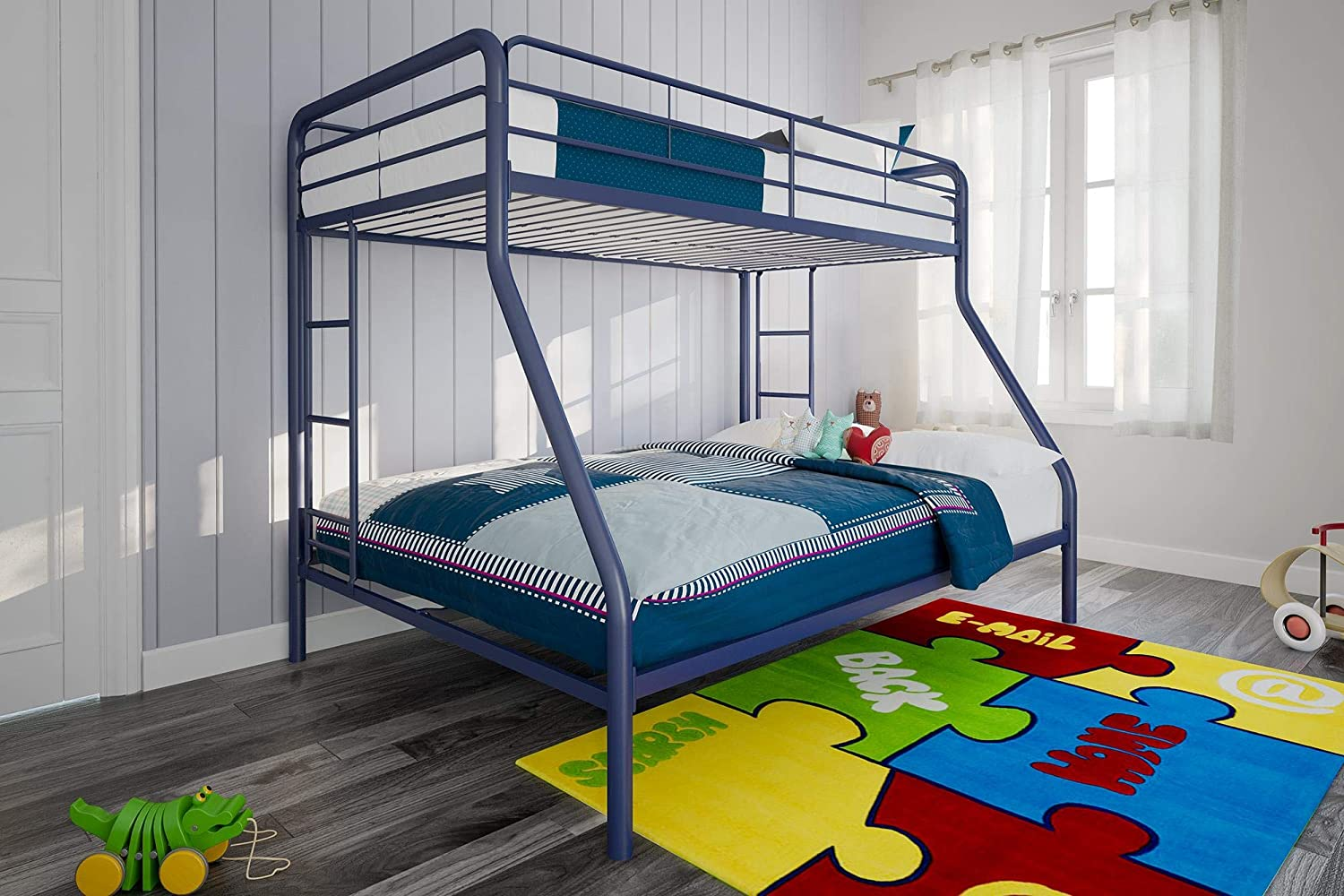 Dhp Twin Over Full Bunk Bed With Metal Frame And Ladder Space Saving Design Blue Furniture Decor