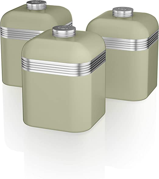 Swan SWKA1020GN Set of 3 Retro Storage Canisters, Green