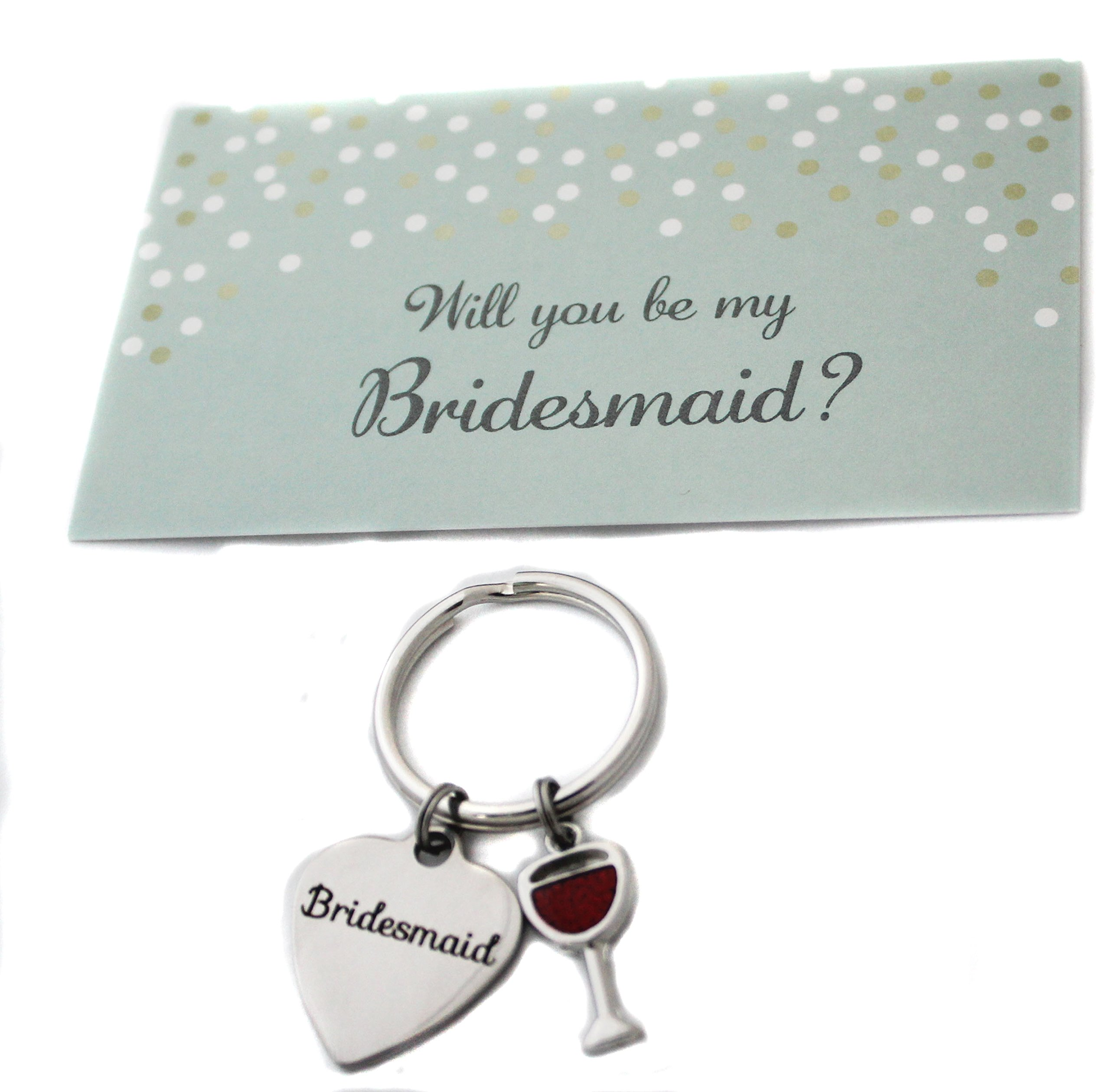 Heart Projects Stainless Steel Bridesmaid Wine Charm Keychain Bag Charm Wedding Party Gift