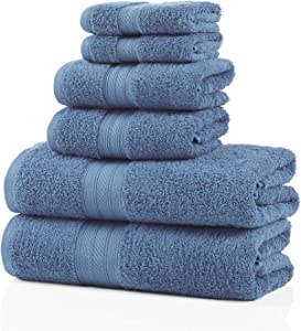 SUPERIOR 700 GSM Long Staple 100% Combed Cotton, Durable, Plush and Absorbent 6-Piece Single Ply Towel Set, Allure