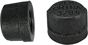 LDR Pipe Décor Industrial Steel Grey 3/8-Inch Pipe Cap Fittings (2-Pack)
