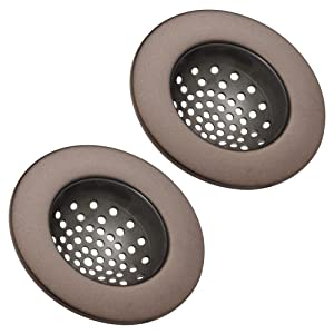 "mDesign Modern Kitchen Sink Strainer, Drain Cover for Standard Kitchen Sinks, Double Farmhouse Sinks, Utility Sinks - Flexible Base Traps Debris, Wide Metal Rim, 4"" Round - 2 Pack - Bronze"