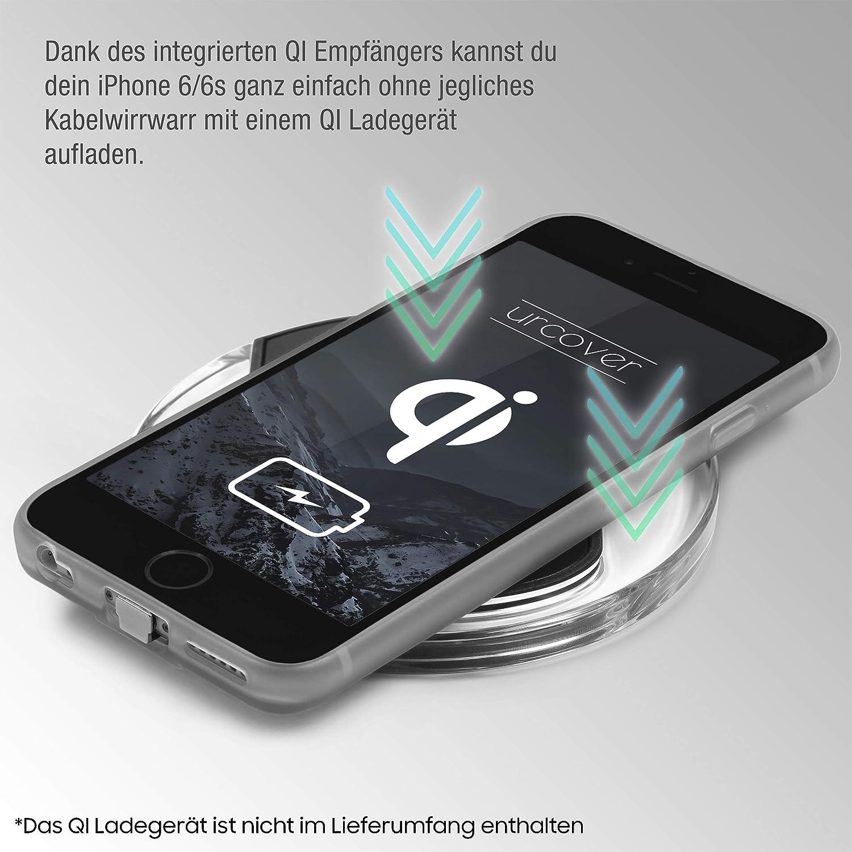 Urcover® Funda de Carga Inalámbrica | Premium | Apple iPhone 6 Plus / 6s Plus | Receptor Qi Integrado | Gris | Backcase Cargador Carga Rapida Bumper ...