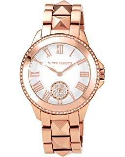 Vince Camuto Womens VC/5048SVRG Round Swarovski Crystal Accented Rosegold-Tone Bracelet Watch