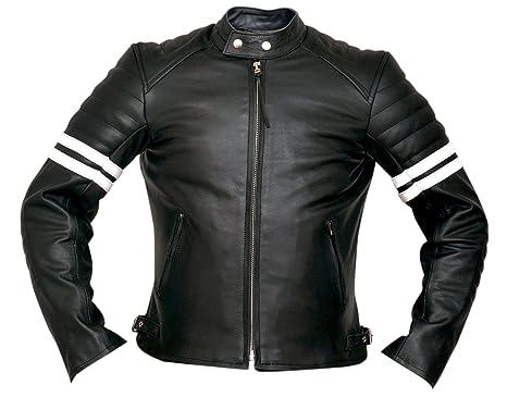 White Striped Cafe Racer Style Retro Leather Jacket XS