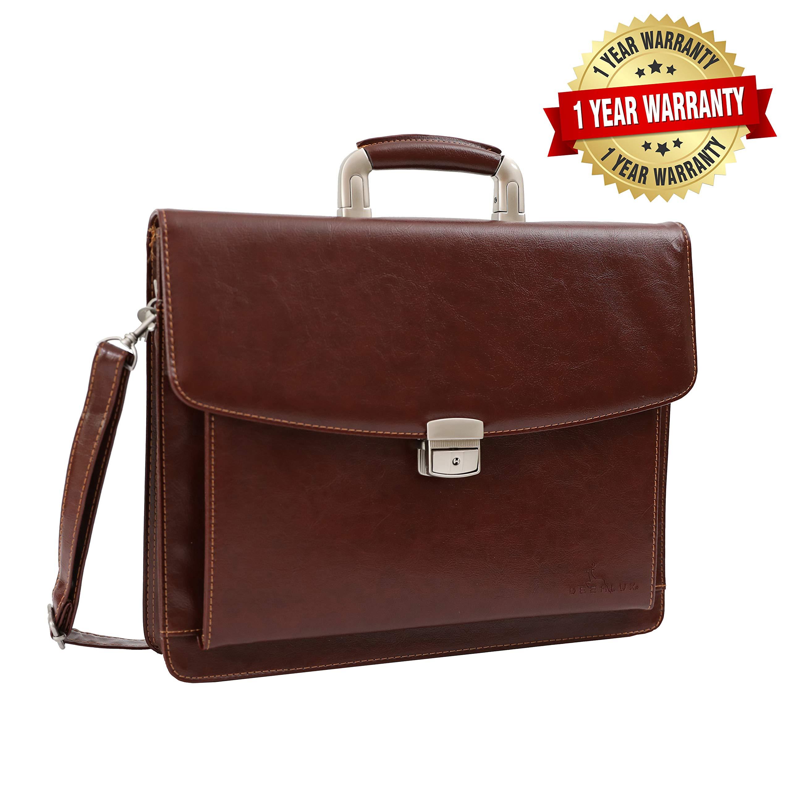 DEERLUX QI003305 Leather Briefcase, Mens Business Messenger Bag for Laptop Brown