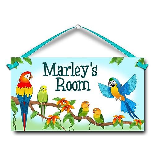 Kids Door Sign Tropical Birds Parrots Personalized Name Plaque