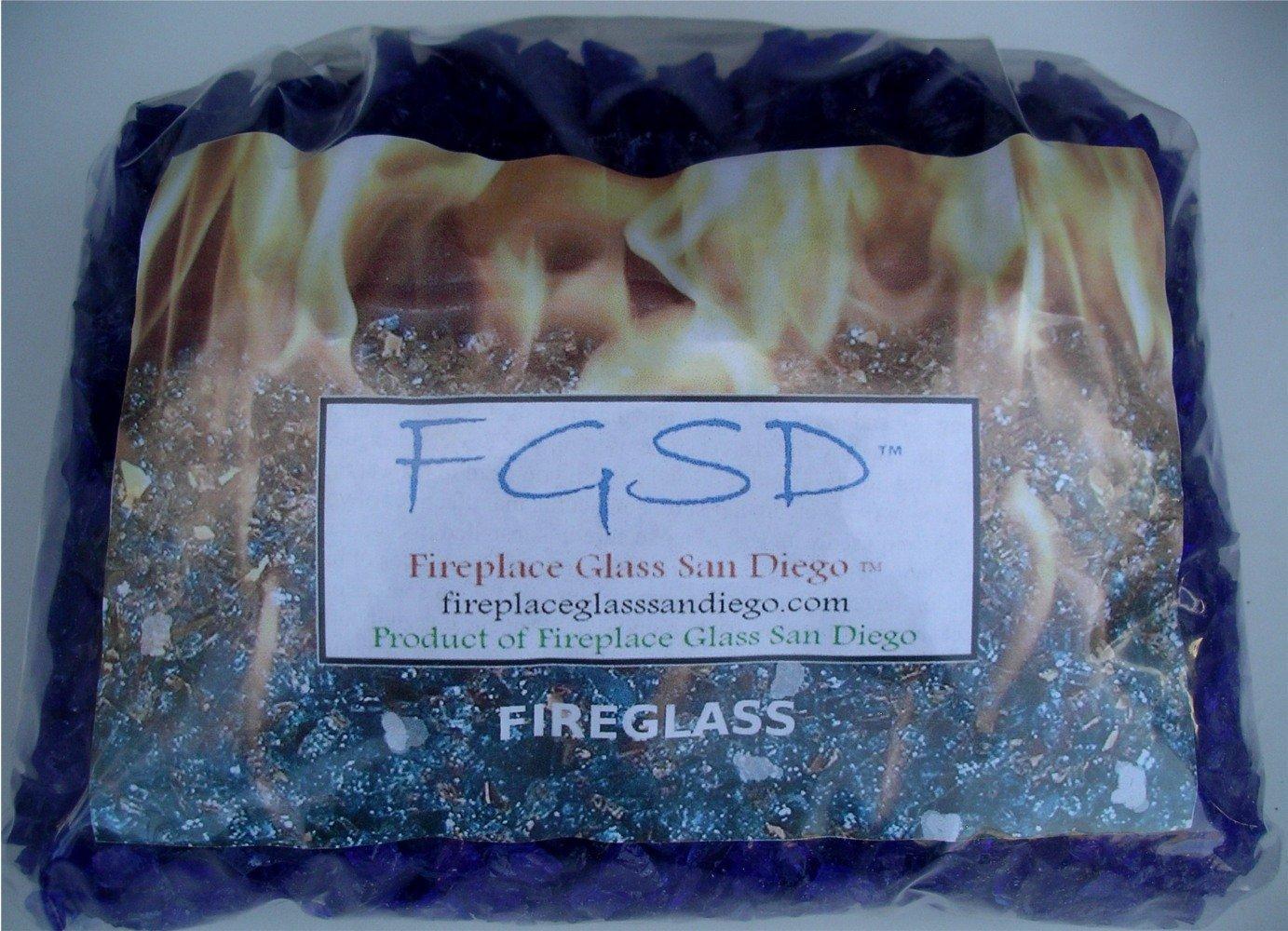 Fire Pit Glass Rocks, COBALT BLUE 3/8-1/2'', 60 LBS