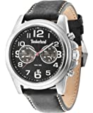 Timberland Men's Quartz Watch with Black Dial Chronograph Display and Black Leather Strap 14518JS/02A