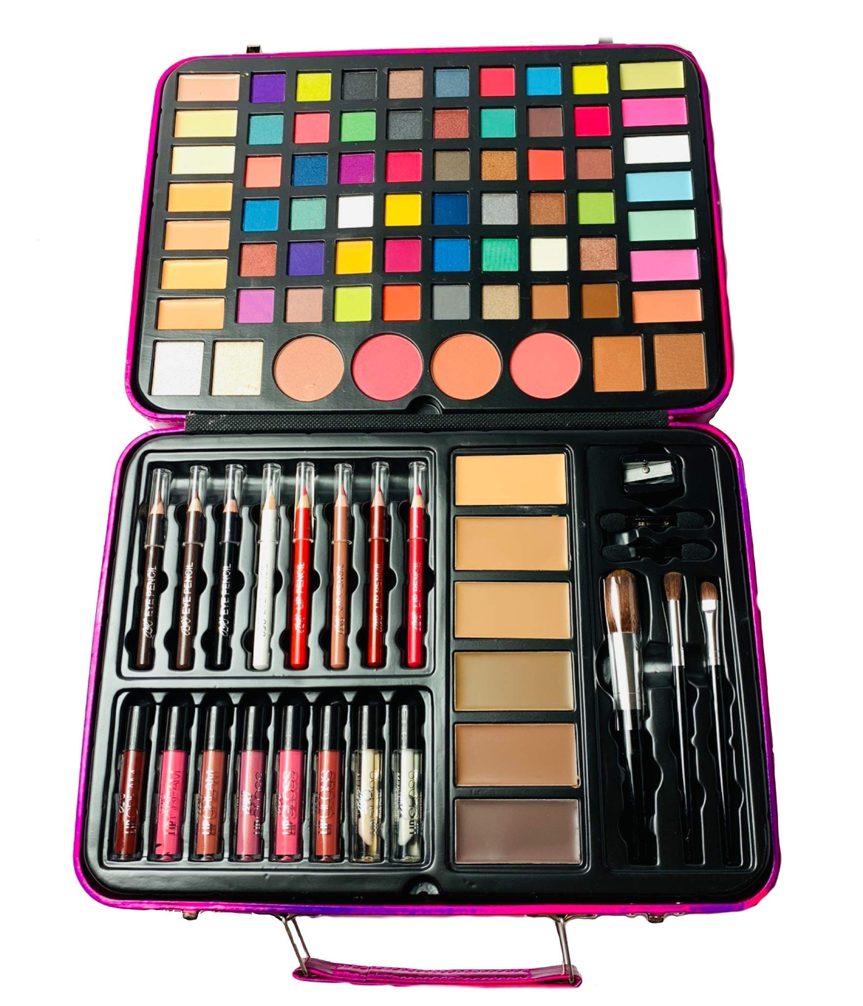 BR Carry All Trunk Professional Makeup Kit - Eyeshadow, Eyeliner, Lip Stick All In One Clear Case (RedCase) by BR (Image #2)