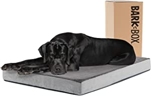 Barkbox Memory Foam Platform Dog Bed | Plush Mattress for Orthopedic Joint Relief | Machine Washable Cuddler with Removable Cover and Water-Resistant Lining | Includes Squeaker Toy