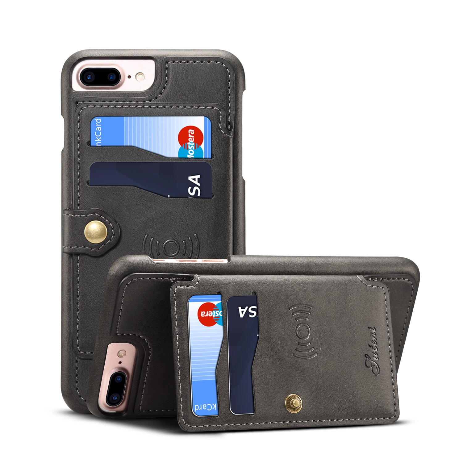 Leather Case for iPhone 6+ 7P 8 Plus Apple,Card Holder Pocket Kickstand Quality Sticking Protective Slim Soft Wallet Cover Shell-Black by TACOO