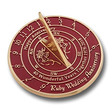 The Metal Foundry 40th Ruby Wedding Anniversary Sundial Gift Idea Is