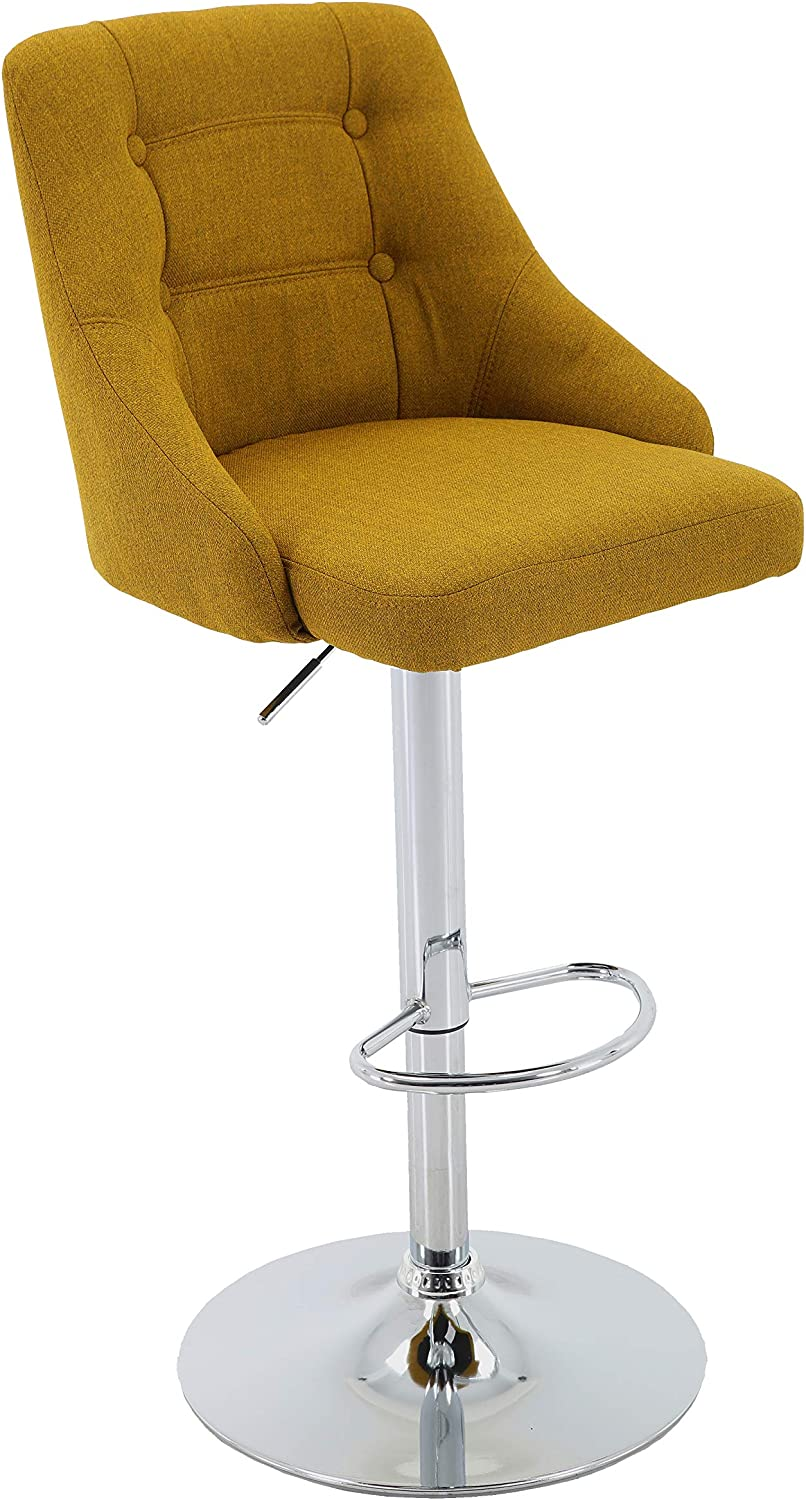 Brage Living Adjustable Height Tufted Upholstered Round Back Barstool with Footrest, Gold