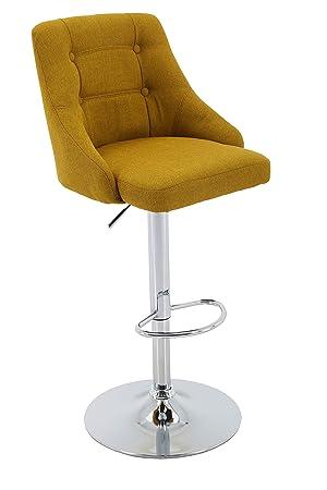Brage Living Adjustable Height Tufted Upholstered Round Back Barstool with Footrest, Gold