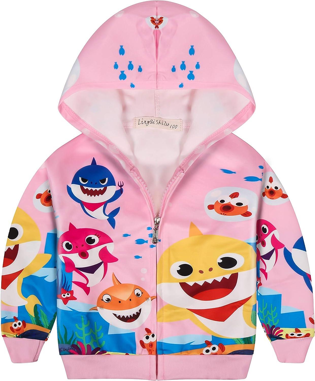 Girl Baby Shark Hooded Cartoon Jacket Coat Long Sleeve Zipper Pingfong Hoodie Cardigan Children's Shirt
