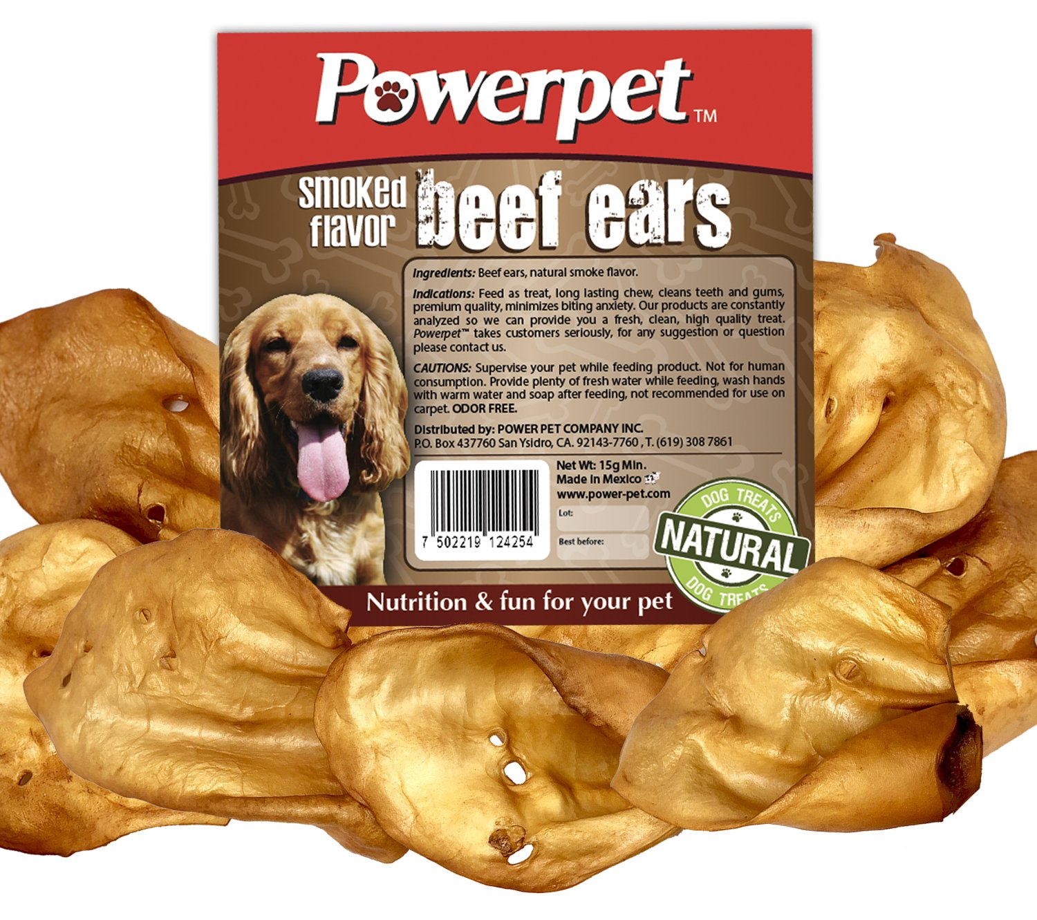 Powerpet 100% Natural Cow Ears for Dogs (100 Pack) (Smoked) by Powerpet
