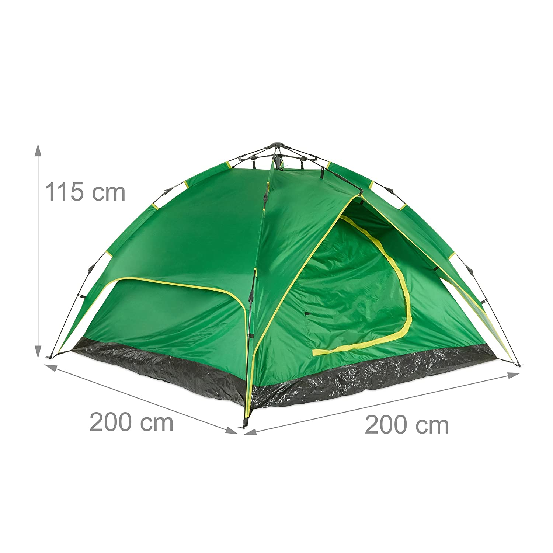 H x B x T: 200 x 200 x 115cm Verschiedene Farben relaxdays Campingzelt f/ür 3-4 Personen Quick-up 2in1-Funktion