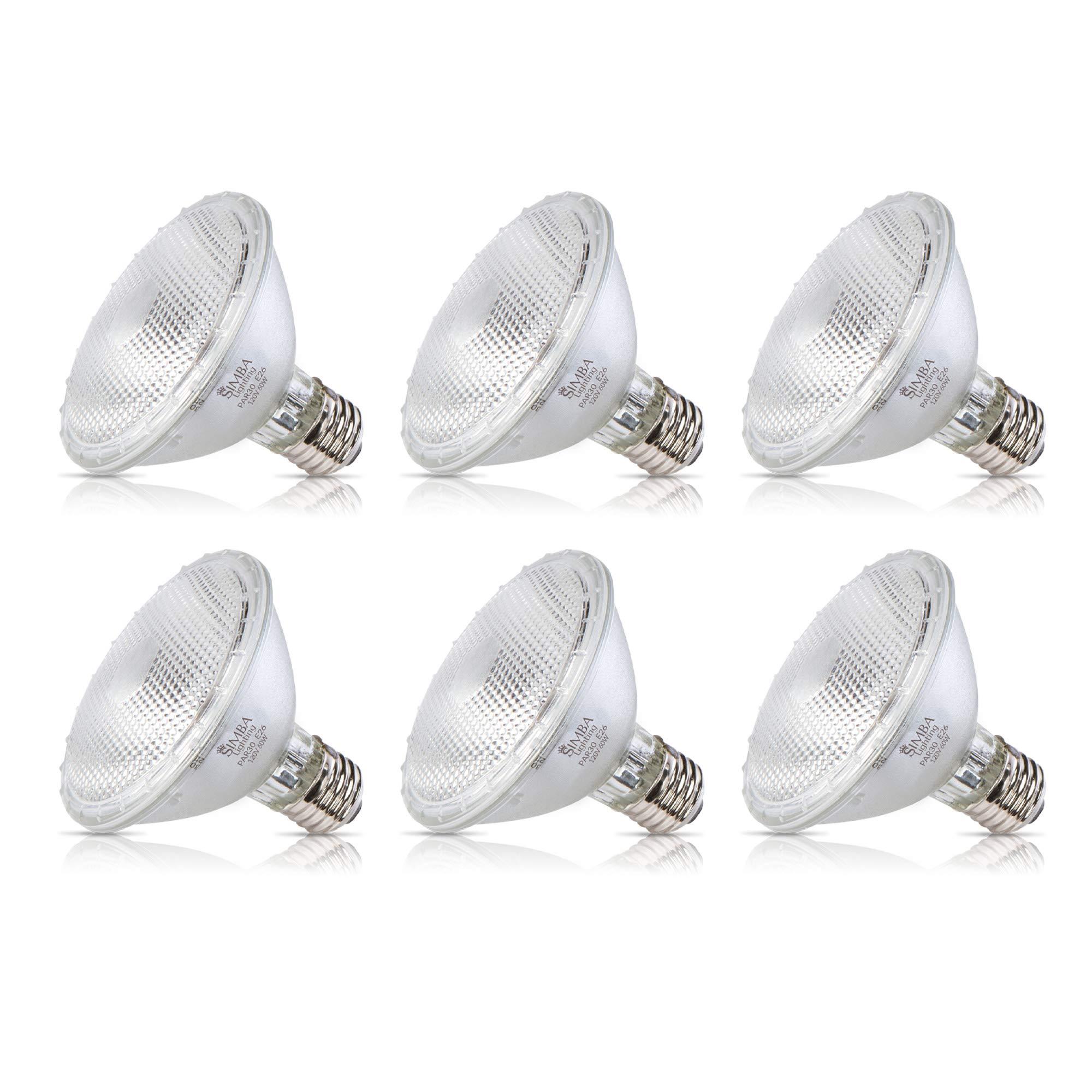 Simba Lighting Halogen PAR30 Short Neck Light Bulb 60W 60PAR30/FL 30deg Spotlight Dimmable (6-Pack) for Indoor Recessed Can and Outdoor PAR 30, 120V E26 Base, 75W Replacement, 2700K Warm White