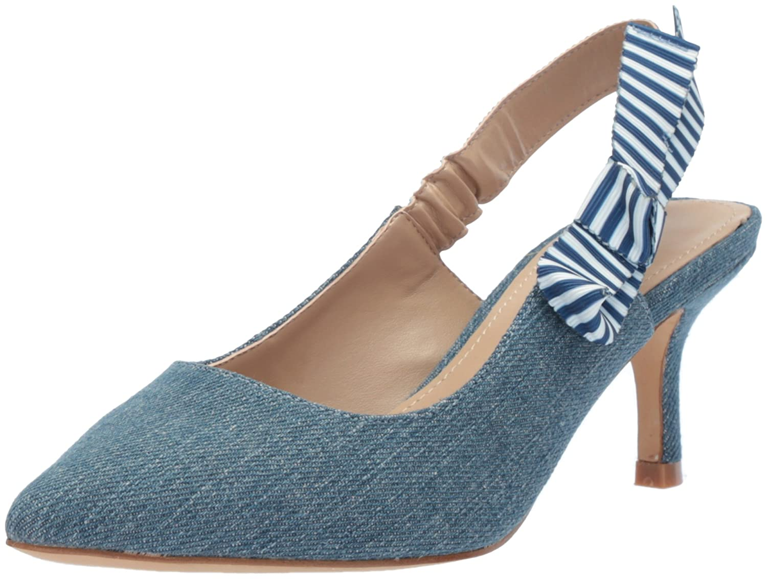 The Fix Women's Fatina Kitten Heel Slingback Pump B07711QM81 8 B(M) US|Denim Textile