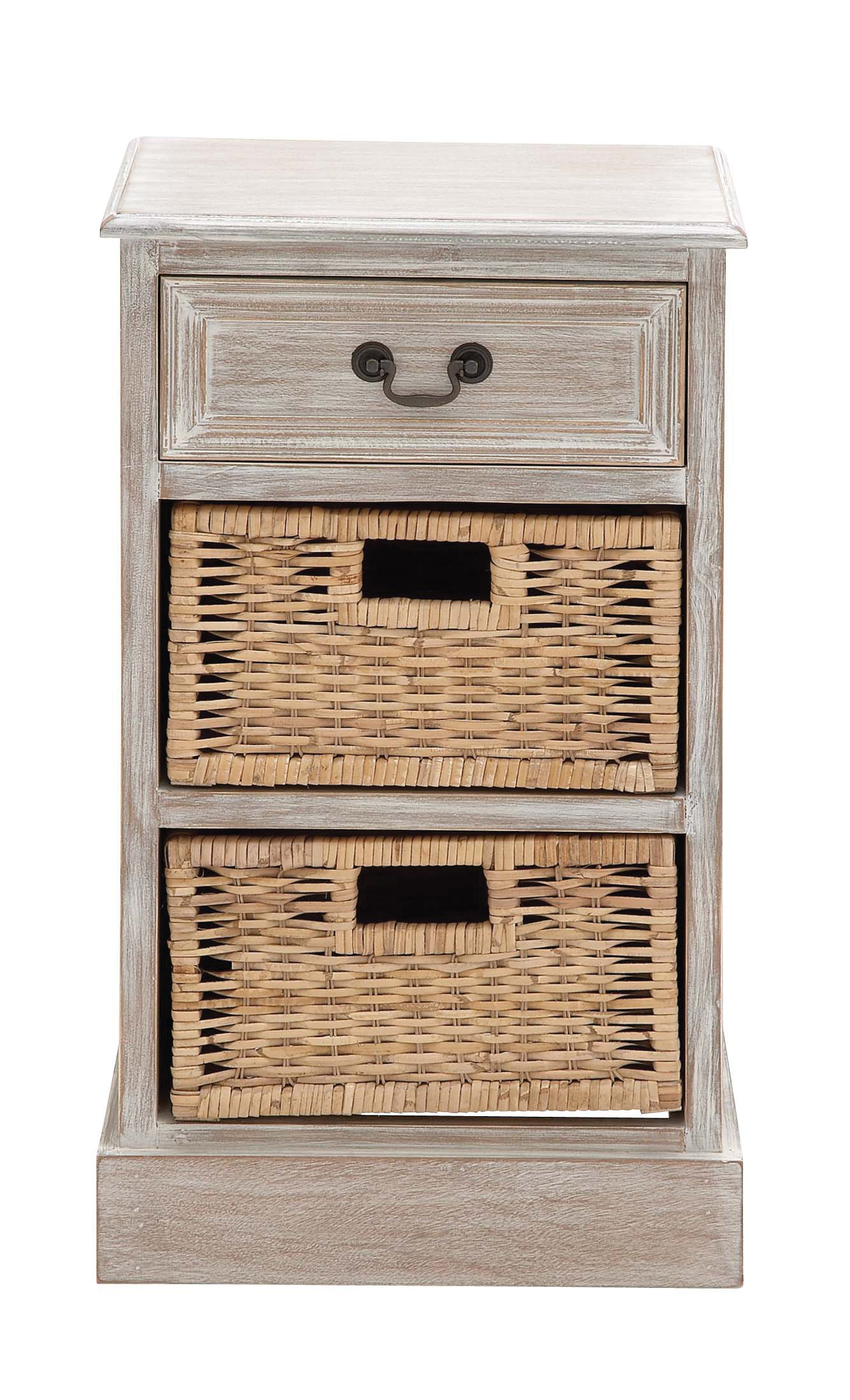 Benzara 96282 The Simple Wood 2-Basket Chest