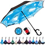 HOSA Auto Open Reverse Inverted Umbrella   Night Safety Reflective Strips, Double Layer Windproof Design, C Handle For…