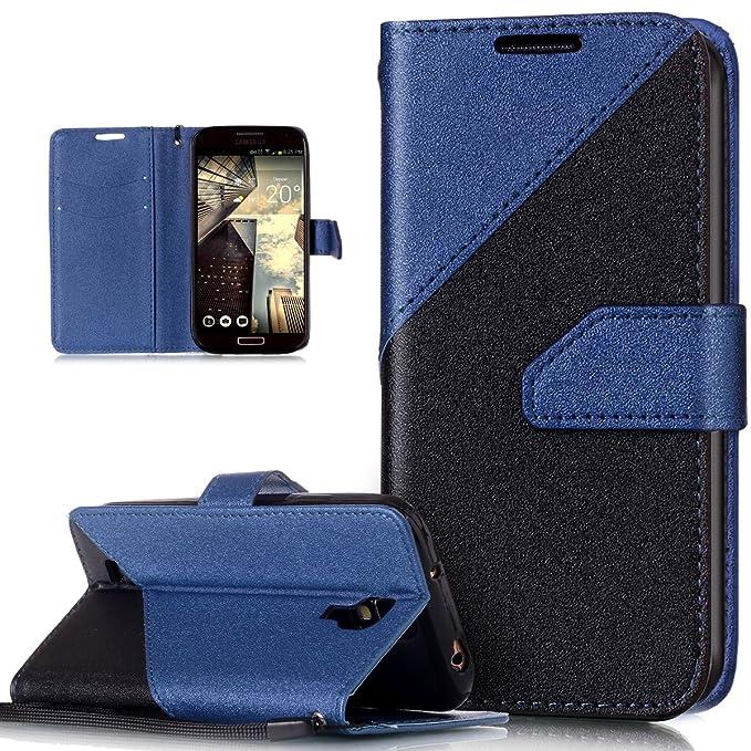 Kompatibel mit Galaxy S4 Hülle,Galaxy S4 Leder Hülle,Schlagfarbe Nähte Spleiß Stil Naht Farben PU Lederhülle Flip Hülle Handy