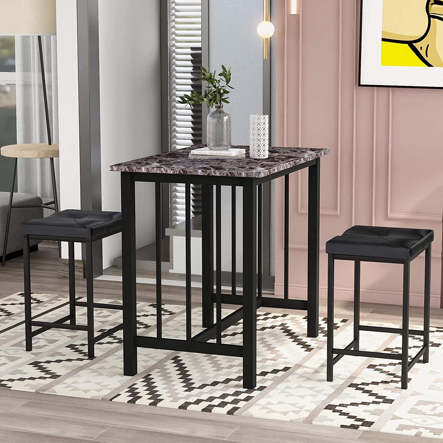 3-Piece Dining Table Set - Kitchen Counter Height Dining Set, Bar Table with 2 Bar Stools Perfect for Kitchen, Breakfast Nook, Bar, Living Room