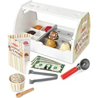 Melissa & Doug 9286 Wooden Scoop and Serve Ice Cream Counter (20 pcs) - Play Food and Accessories