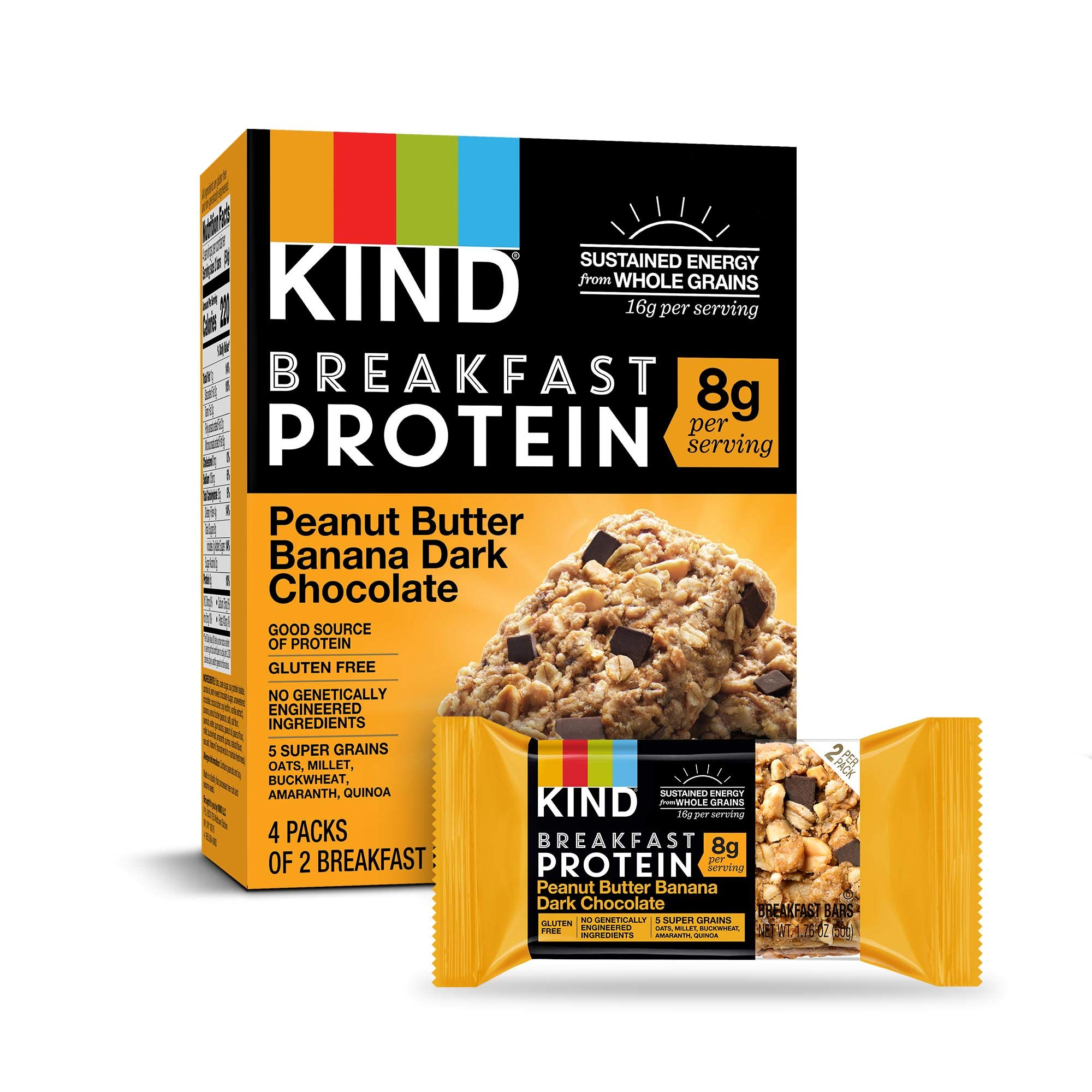 KIND Breakfast Protein Bars, Peanut Butter Banana, Gluten Free, Non GMO, 1.76 Ounce, 32 Count by KIND