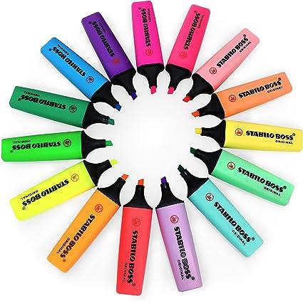 Stabilo Boss Original fluorescent et Pastel surligneurs – Deskset DE 15 couleurs assorties: Amazon.es: Oficina y papelería