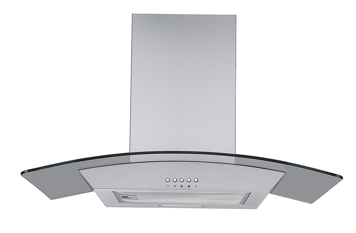 Cookology CGL700SS 70cm Curved Glass & Stainless Steel Kitchen Chimney Cooker Hood [Energy Class C]